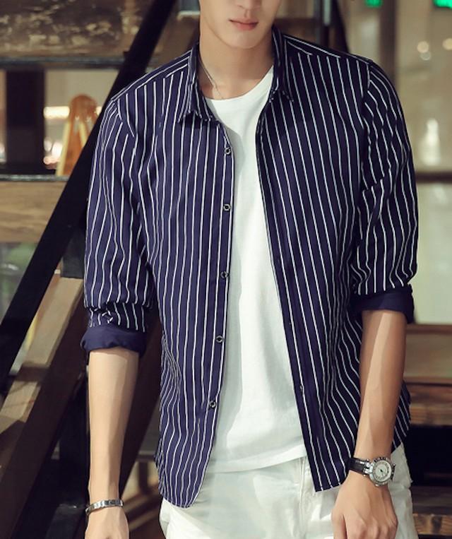 Yシャツ メンズ 長袖 インナー ワイシャツ トップス カットソー シンプル カジュtps-1797