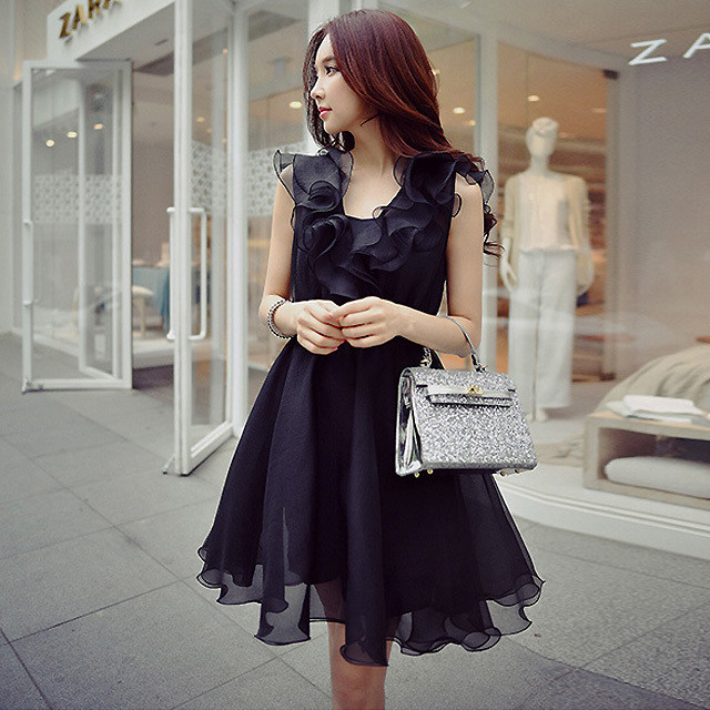 【大きいサイズ】【韓国レディースファッション】  6279 上品 きれいめ フリル デザイン ドレス ワンピース 送料無料