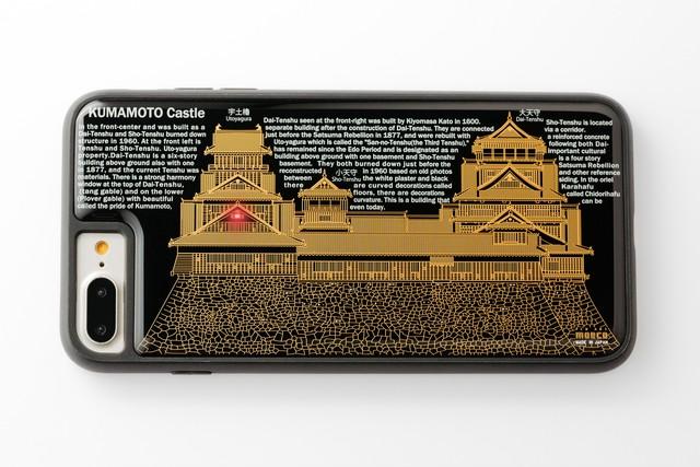 【寄附付き】FLASH 熊本城 基板アート iPhone 7/8 Plusケース 黒【東京回路線図A5クリアファイルをプレゼント】