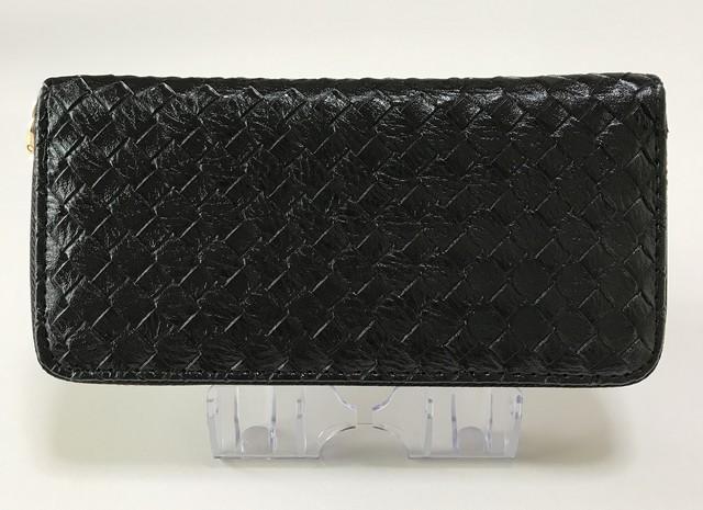 長財布 ラウンド長財布 ラウンド財布 財布 編み込みデザイン メンズ レディース ブラック