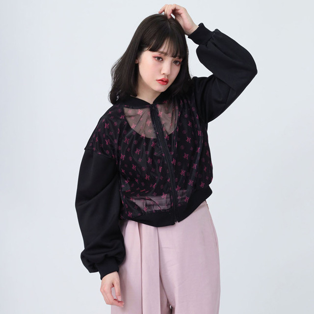 【FLOWER by RADIO EVA 023】See-though EVA Monogram Blouson  BLACK /  EVANGELION エヴァンゲリオン