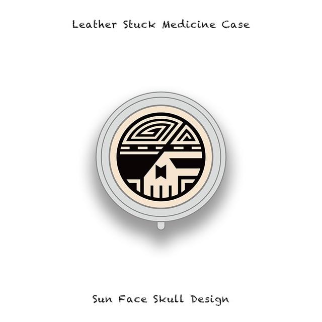 Leather Stuck Medicine Case ( Small Round Shape ) / Sun Face Skull Design 003