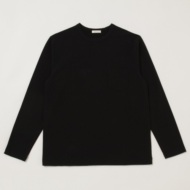 niuhans / Dry Touched Cotton Inlay L/S Pocket Tee[Black]