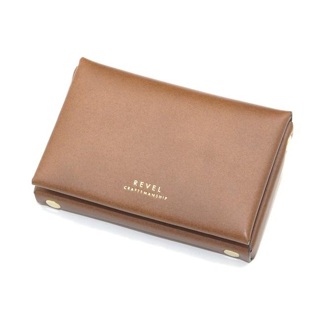 折革ボックス型カードケース-キャメル