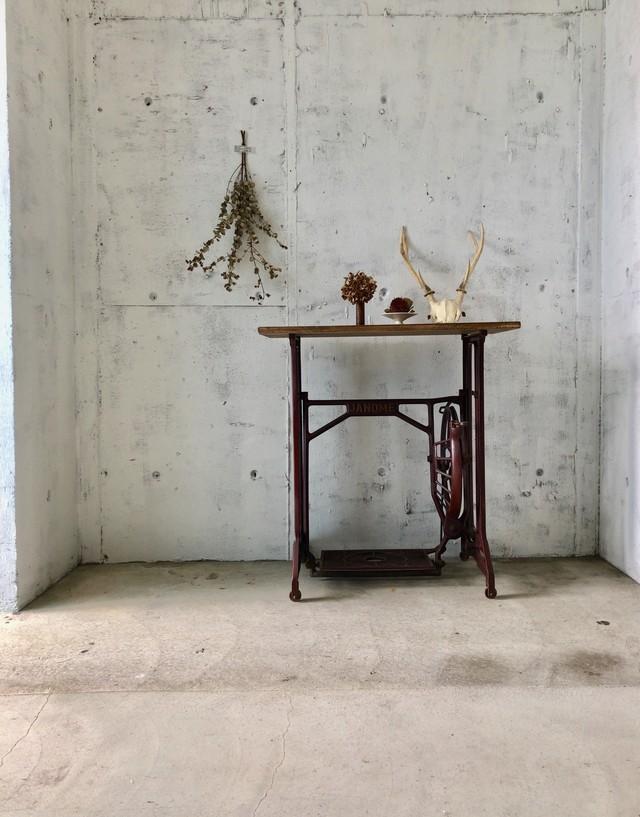 木味×ミシン脚のテーブル[古家具]
