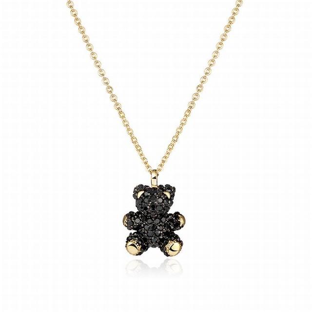 黒くまのネックレス キラキラ 韓国アクセサリー ネックレス キュービックジルコニア クリスタル くま ベアー アニマル 合金 シルバー925 / Silver black bear necklace (DTC-603865714417)