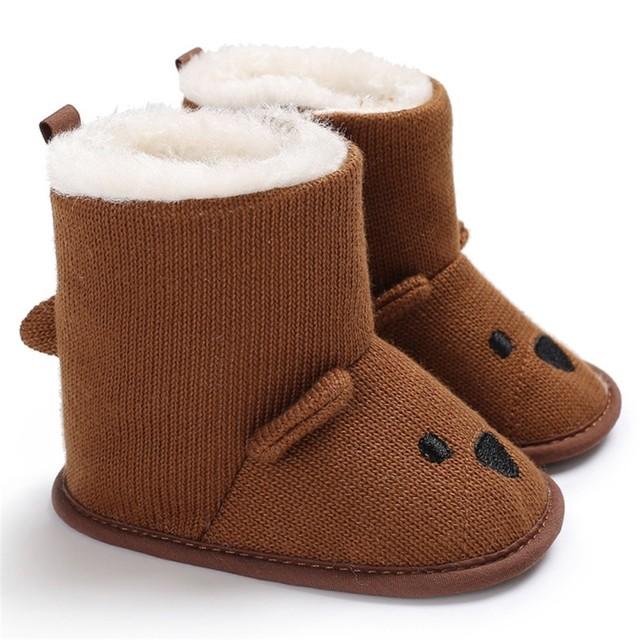 予約商品 冬のブーツ 幼児かわいい 漫画のクマの靴 ブラウン 送料無料