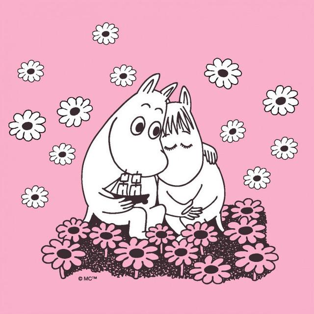 【ムーミン】バラ売り1枚 ランチサイズ ペーパーナプキン MOOMIN LOVE ピンク