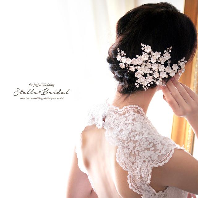 【受注生産品】スワロ使用 パールとビジューのホワイトブロッサム ブライダルヘッドドレス