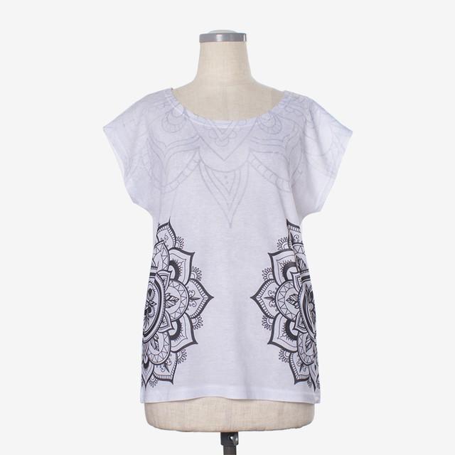 ヨガプリントTシャツ マンダラ6 Yoga print T-shirt Mandala6