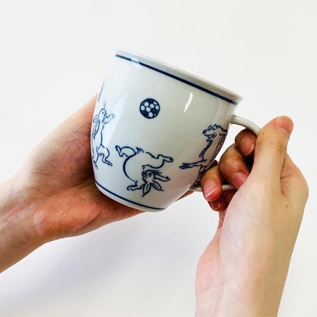 京都 陶磁器の工房&ショップ めおと屋いろゑ/鳥獣戯画【マグカップ】サッカー