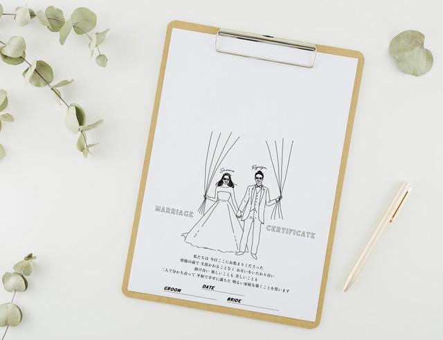 おふたりの似顔絵で作る ゲスト参加型結婚証明書② │ウェディングツリー ウェディングバルーン