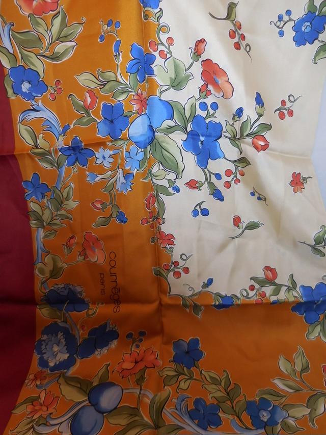 オレンジ錦紗古布帯あげセット Antiques Kimono fabric scarf set