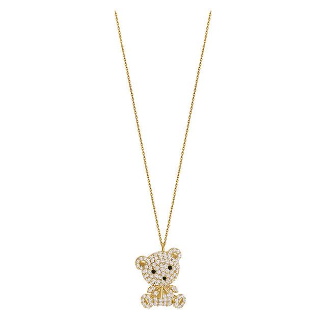 ネックレス キラキラ クマちゃん ベアー CZ チェーン付き レディース ペンダント 合金 アクセサリー / Cute bear collarbone chain light luxury necklace (DTC-638377948303)