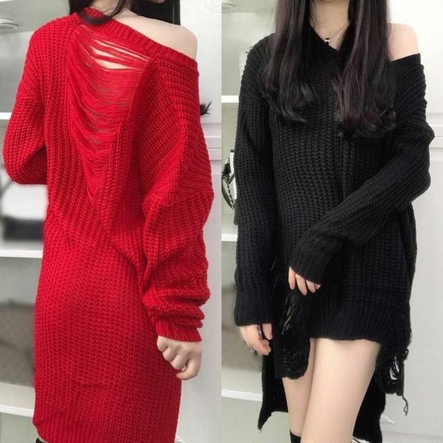 レディース Vネック ダメージアシンメトリーニット 春コーデ / V-neck sweater dress female loose thin irregular sweater women (DCT-563462781485)