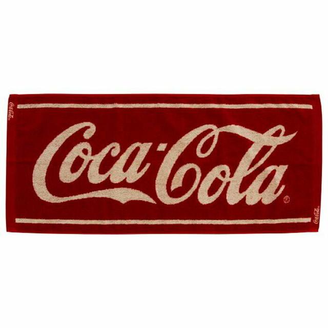 coca Cola コカコーラ大人の雰囲気と高級感あるジャガード織り。吸水性も抜群  コカ・コーラ グッズ ジャガード バスタオル ワインレッド タオル