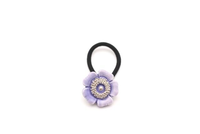 有田焼ヘアゴム 花 紫マット