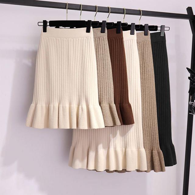 【送料無料】選べるロング&ミニ♡ ニット フリル ロングスカート ミニスカート