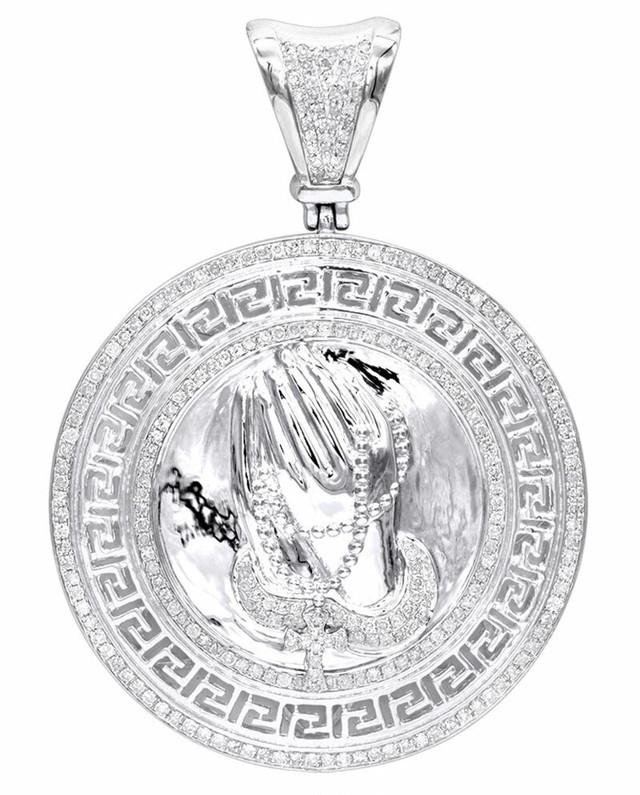 14K WHITE GOLD PRAYING HANDS ROSARY DIAMOND PENDANT MEDALLION 1CT