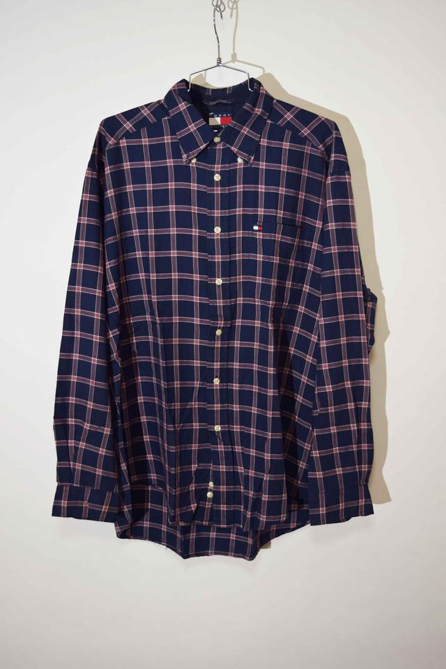 【Lサイズ】 TOMMY HILFIGER トミーヒルフィガー BD CHECK SHIRT チェックシャツ NAVY/RED ネイビー レッド