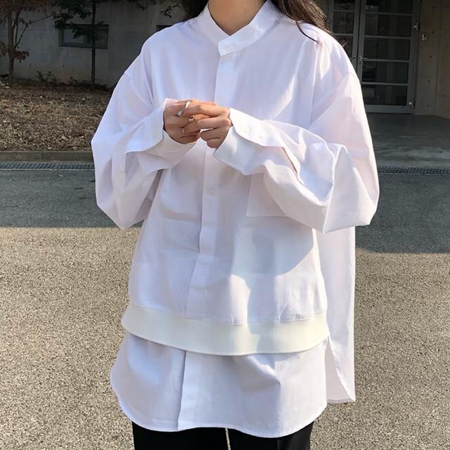 ノーカラー フロントレイヤード風 オーバーサイズ ホワイトシャツ