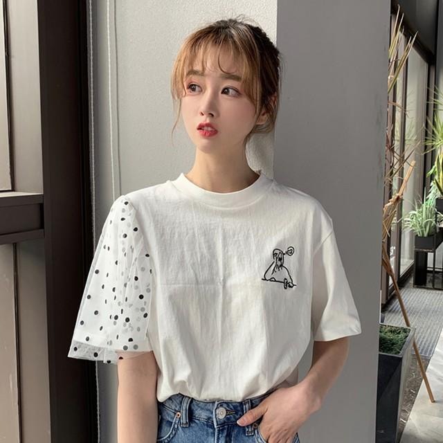 【tops】半袖カジュアル切り替えラウンドネックプルオーバーTシャツ