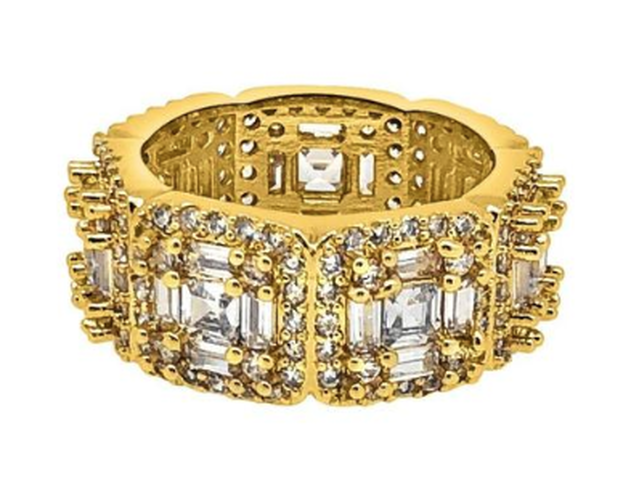 EXOTIC BAGUETTE PRINCESS ETERNITY BAND GOLD CZ RING