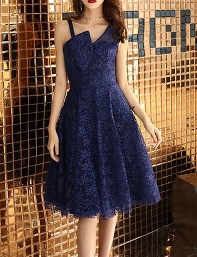 刺繍 チュール ミディアム丈ドレス