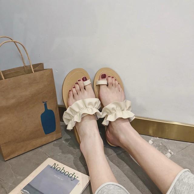 ◆予約◆PU frill toe sandal