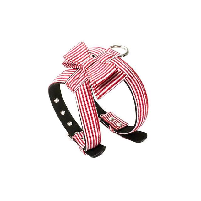 小型犬用★ストライプ柄のリボンが可愛い ハーネス レッド お散歩に!