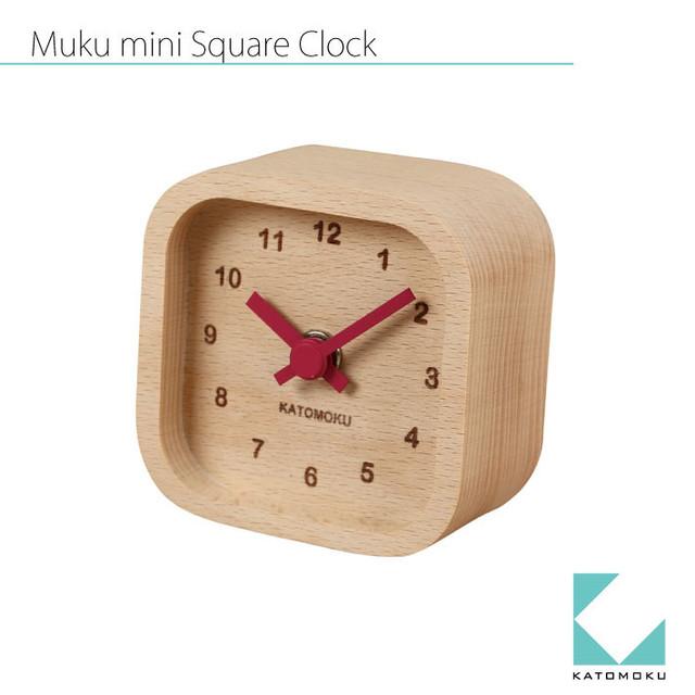 KATOMOKU muku mini square clock km-25赤