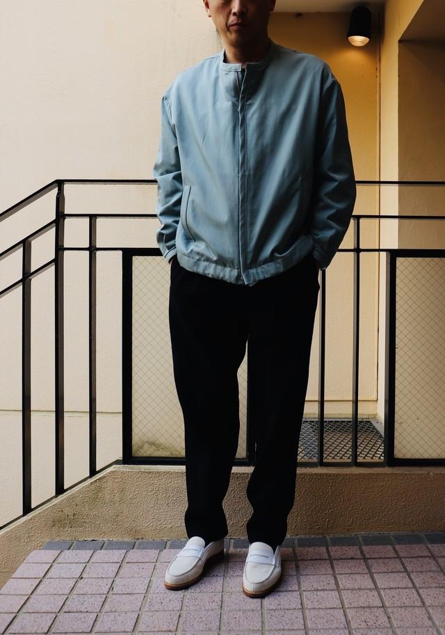 kemit 【ケミット】 WARP FILAMENT SILK✖️WEFT COTTON TWILL BLOUSON(BLUE)