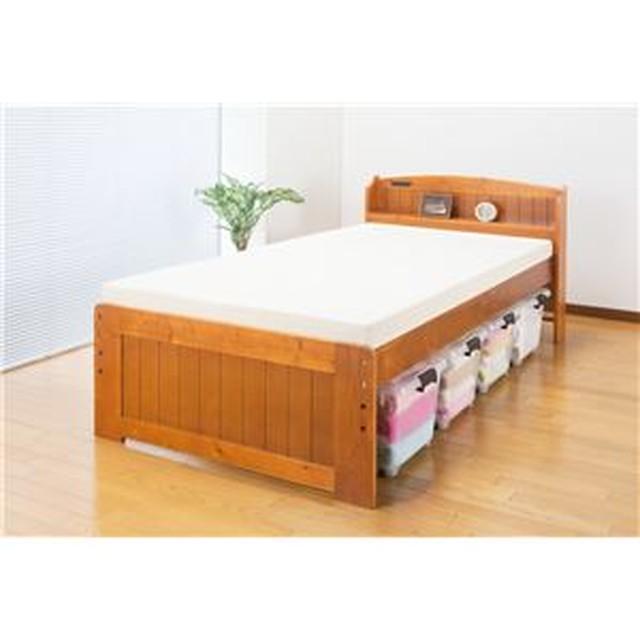 天然木棚付すのこベッド(高さ調節付) セミダブル【代引不可】