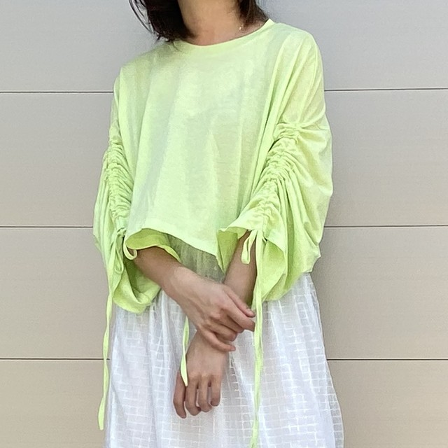 【WOMENS - 1 size】GATHERED ARM LONDSLEEVE / Lime Green