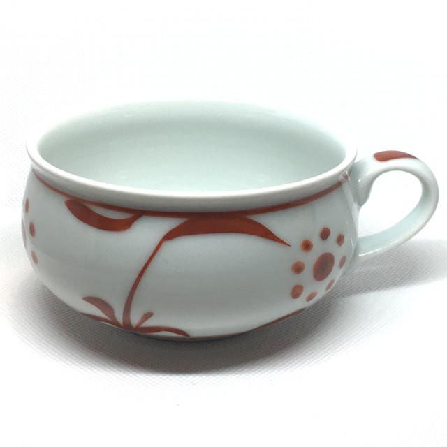 【砥部焼/梅山窯】スープカップ(赤太陽)