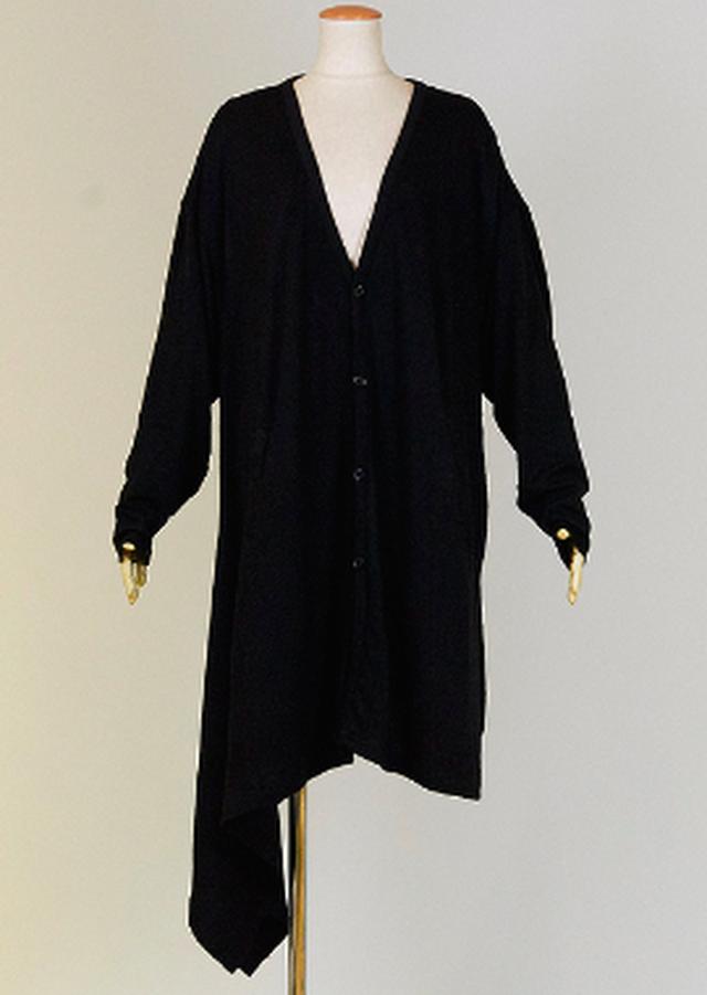 KUNIKUNI 右裾が長くなっているロングカーディガン KUD28-Z015 BK/MM