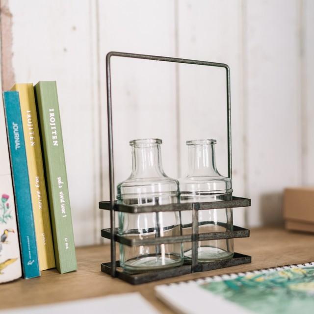 アイアンホルダー付きダブルガラスベース|花器