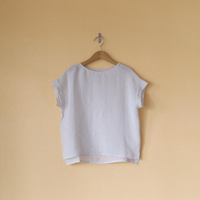 evam eva エヴァムエヴァ linen shirt pullover リネンシャツプルオーバー・スモークホワイト