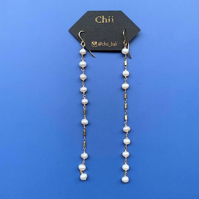 Chii 淡水パールチェーンのロングピアス(K14GF使用・イヤリング可)