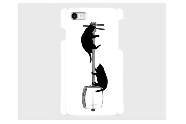 (iPhone用)三味線と黒猫のスマホケース