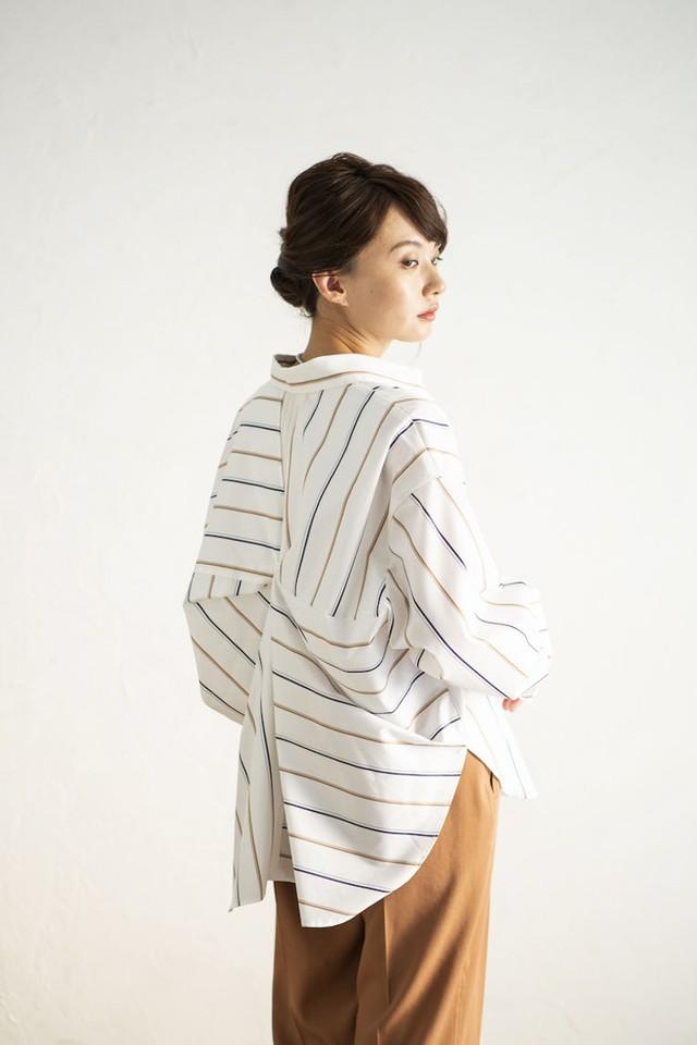【Back Twist Shirts】#バックツイストシャツ<OFF  STRIPE>