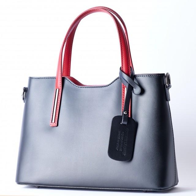 イタリア製 maila2WAYハンドバッグ 黒&赤
