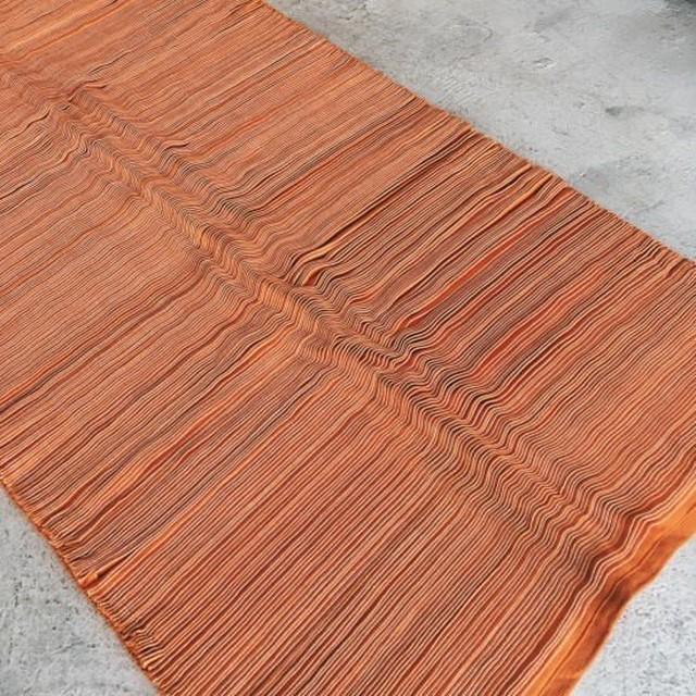 TOPANGA HOMEFURNISING ピンタックラグマット 80×220cm オレンジ