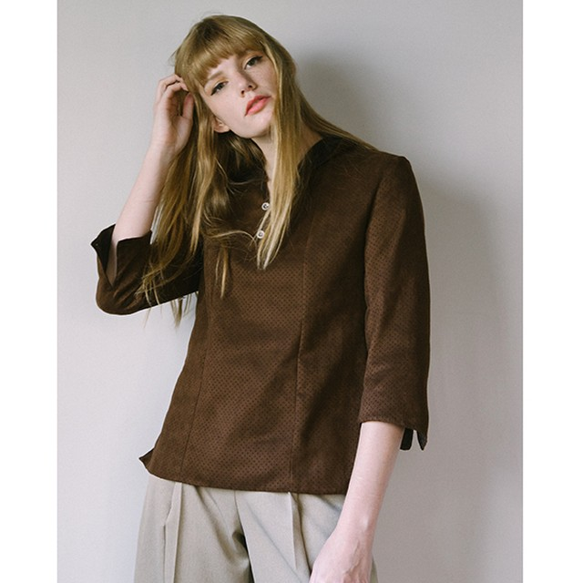 df17AW-04 F/PUNCING SUEDE SHIRT(brown)
