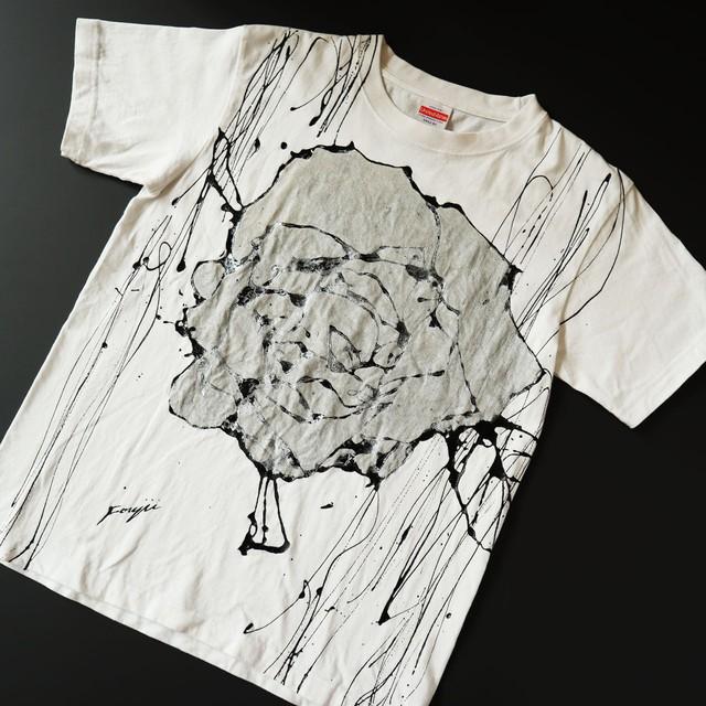 F's rose【 藤井清秀  Tシャツアート】シルバー薔薇 S