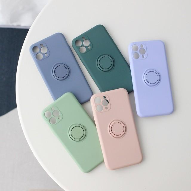 【iPhone12新機種対応】シンプルと機能性にこだわったハイクオリティなiPhoneケース くすみカラー バンカーリング付き (全5色) *p00056