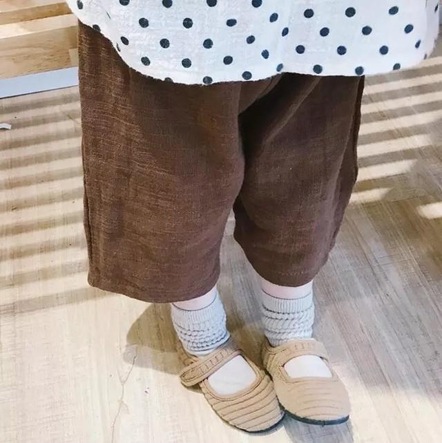 リネン風コットンワイドパンツ 韓国子供服