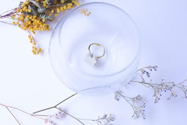 353伝統文化品美濃焼多治見四つ葉タイル指輪・リング(フリーサイズ) ※証明書付