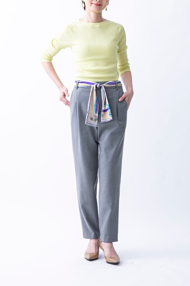 ソフトサーモパンツ(スカーフベルト付) 4色:ライトグレー