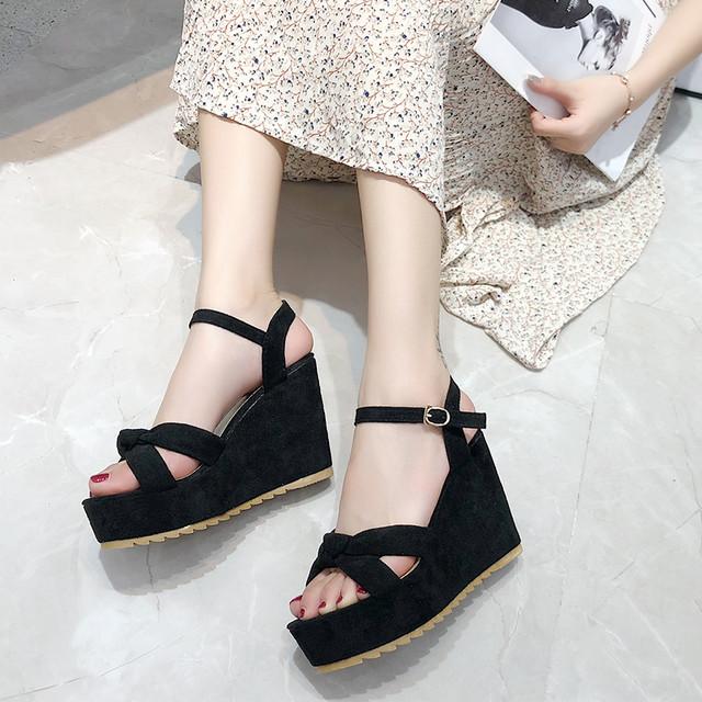 【shoes】フェアリー新作合わせやすい素敵見えストラップウェッジソール
